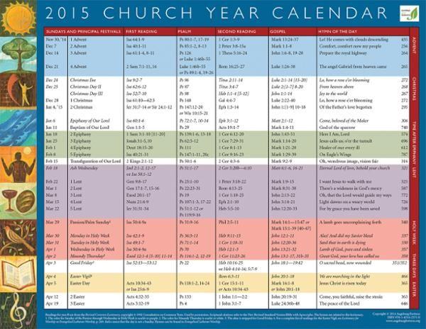 Church Year Calendar 2015 Church Calendar Academic Calendar