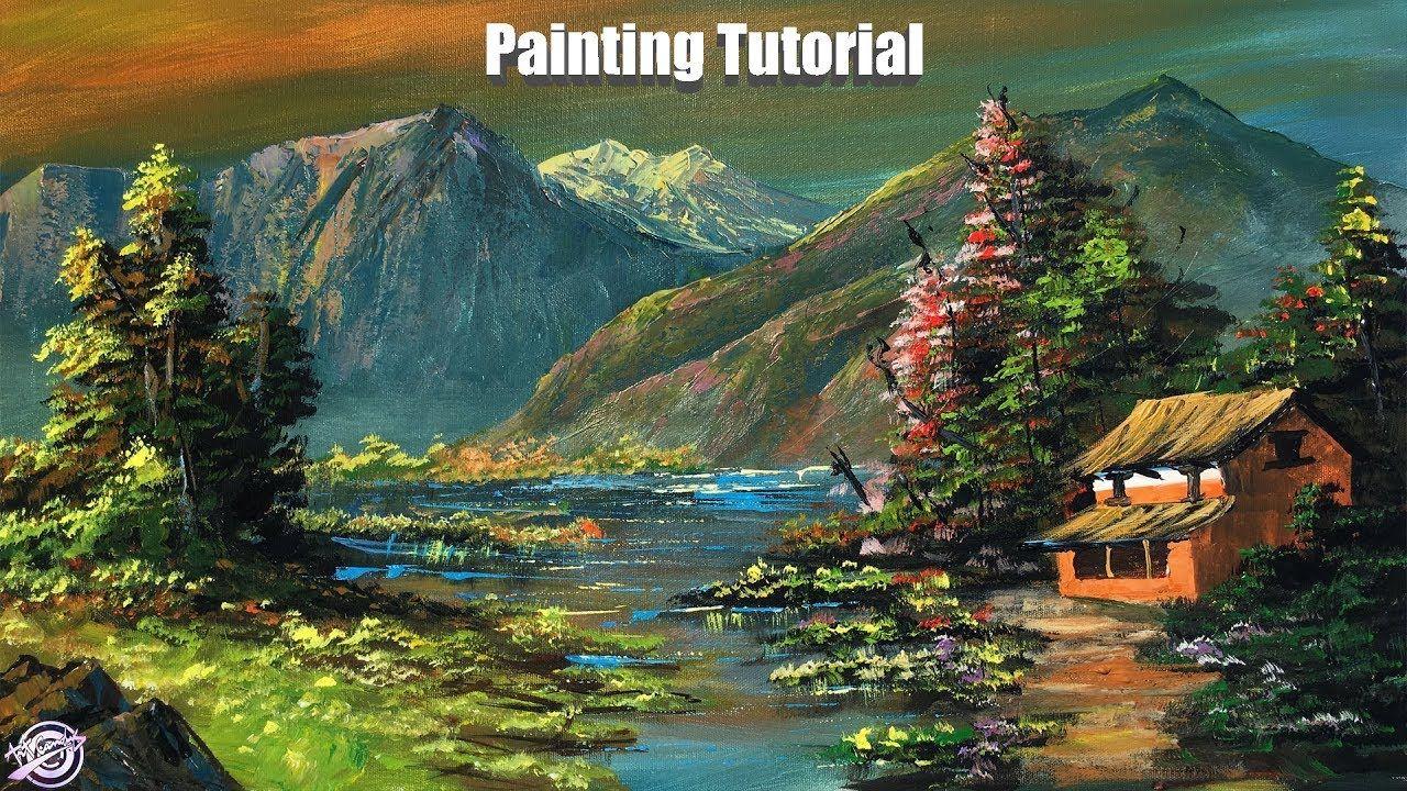 Beautiful Lakeside Scenery Painting Acrylic Painting Tutorial Mounta Mountain Landscape Painting Scenery Paintings Landscape Paintings