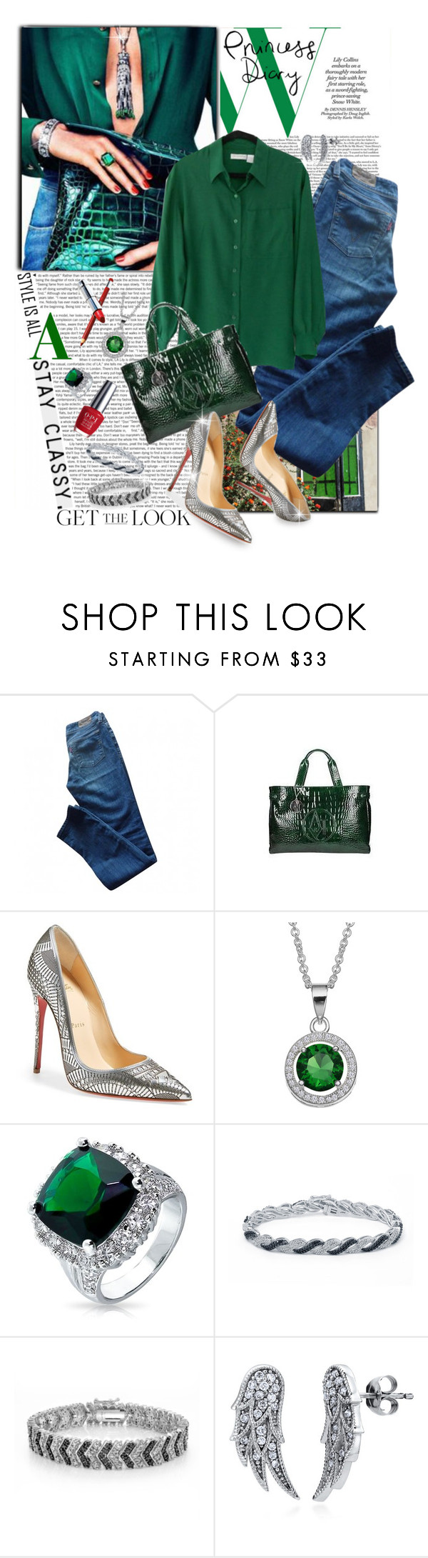 """""""Emeralds, Diamonds and Denim"""" by shortyluv718 ❤ liked on Polyvore featuring Levi's, Giorgio Armani, Christian Louboutin, Bling Jewelry, DB Designs, BERRICLE and OPI"""