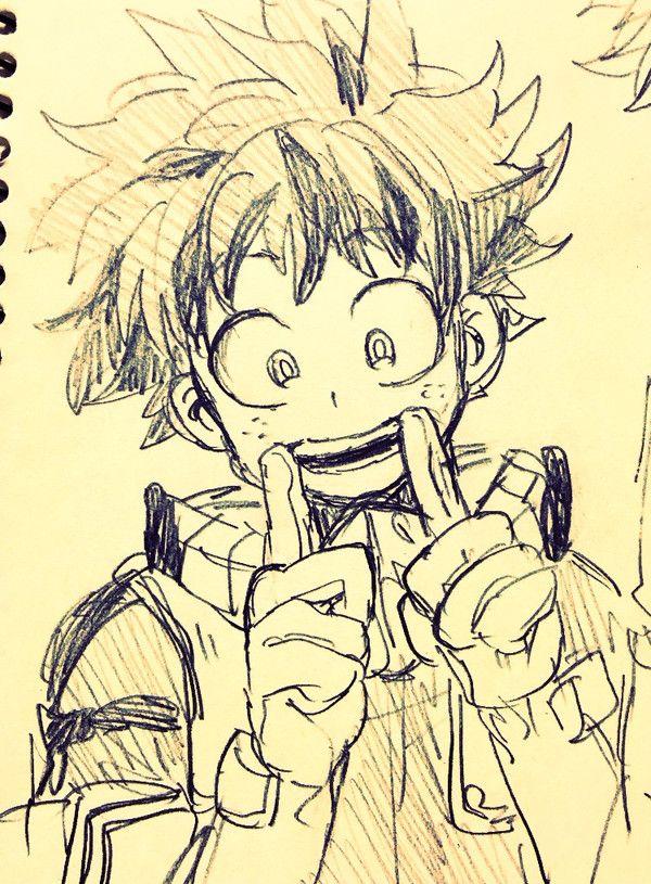 Deku Keep Smiling Boku No Hero Academia Sketches Anime Sketch Drawings