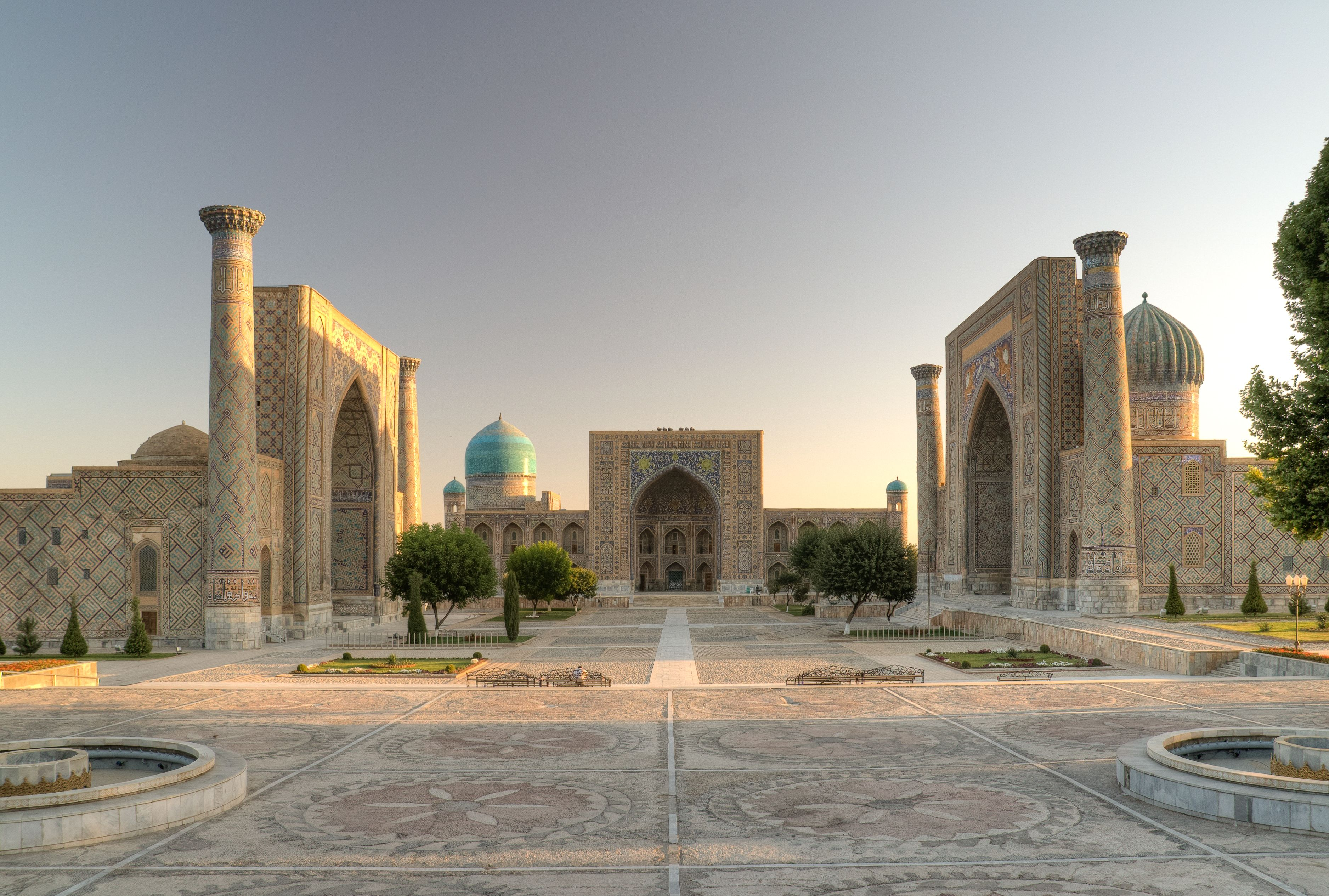 Samarkand, Registan, 15th century and later, Uzbekistan. (The Registan and its three madrasahs. From left to right: Ulugh Beg Madrasah, Tilya-Kori Madrasah and Sher-Dor Madrasah.)