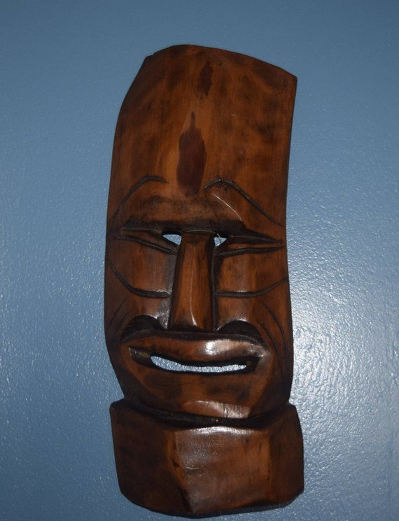 African Tribal Hand Carved Wood Mask Folk Art Mid Century Modern