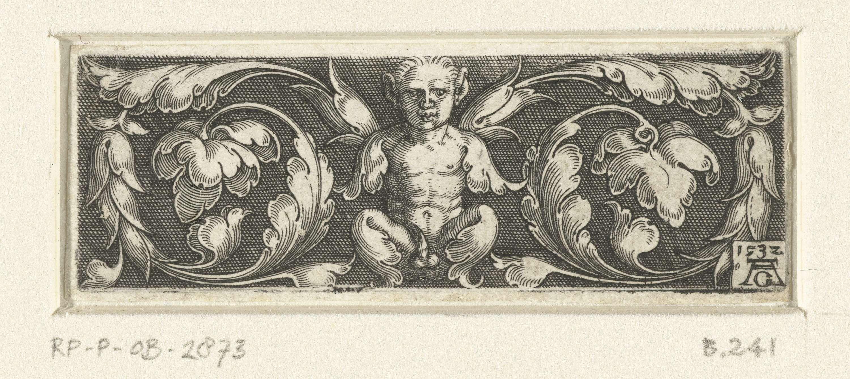 Heinrich Aldegrever | Fries met sater tussen twee bladranken, Heinrich Aldegrever, 1532 | Fries met een gehurkte sater tussen twee bladranken die uit zijn schouders komen.