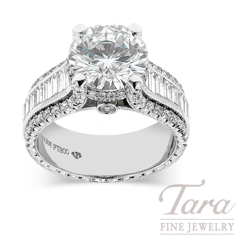 Jack Kelege Diamond Engagement Ring With 3.02 CT Round Center, Platinum, 2.09TDW