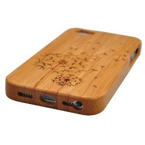 Amazon.com: Natural Handmade hard wood Bamboo Case Cover for iphone 5 with free screen protector(dandelion): Cell Phones & Accessories