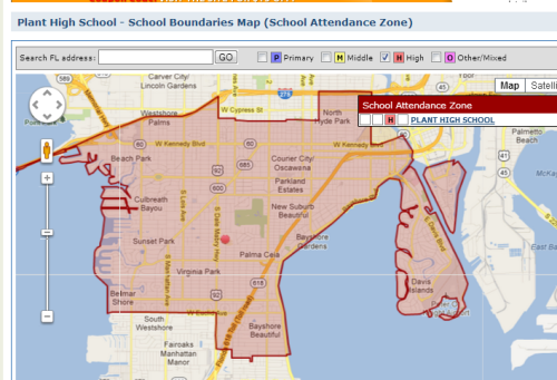 Tampas Plant High School District Map And Homes For Sale High - Map of best school districts in us