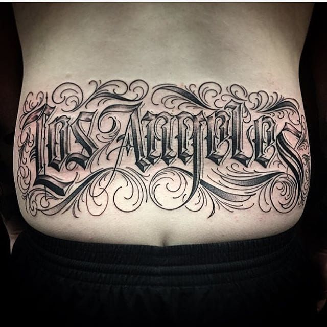 Script and lettering tattoos to tantalize you pinterest for Los angeles tattoo