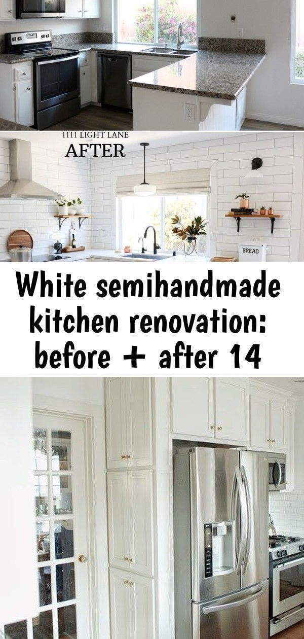 White semihandmade kitchen renovation: before + after 14 #galleykitchenlayouts W...#galleykitchenlayouts #kitchen #renovation #semihandmade #white #opengalleykitchen
