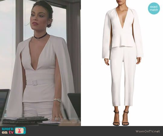 Vestiti Da Ufficio : Cristal s white v neck caped jumpsuit on dynasty vestiti