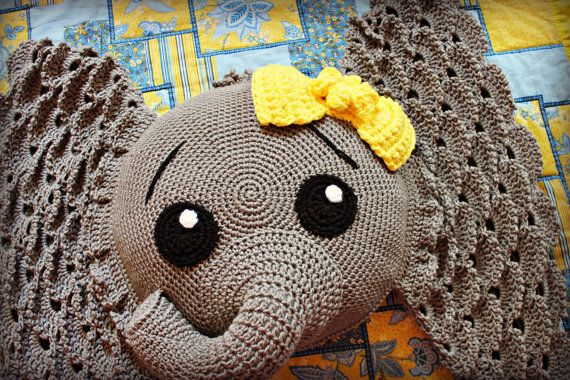 Crocheted Elephant Pillow With Yellow Bow Elephant Pillow Baby
