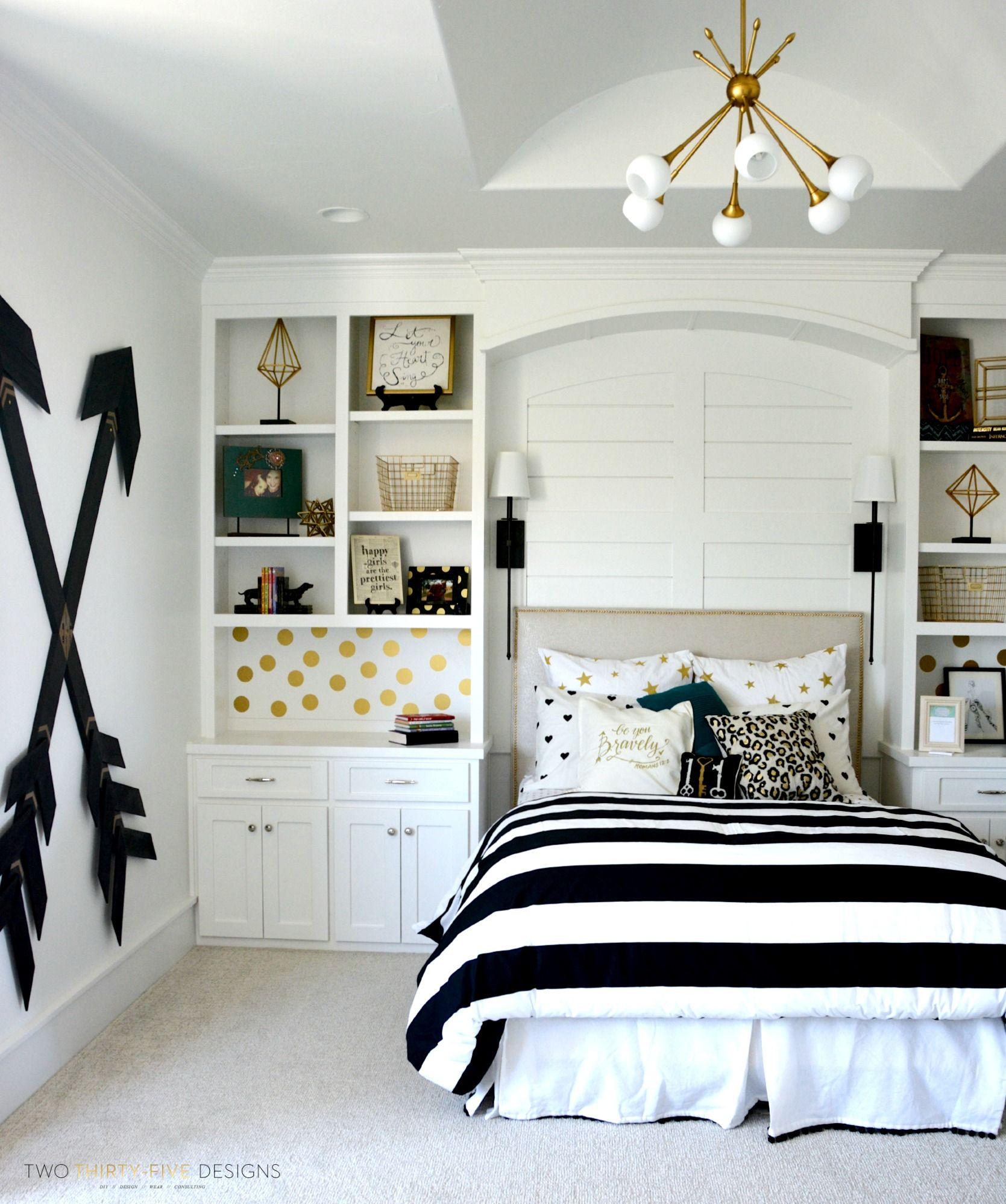 Black and white bedrooms with a splash of color - Pottery Barn Teen Girl Bedroom With Wooden Wall Arrows By Two Thirty Five Designs