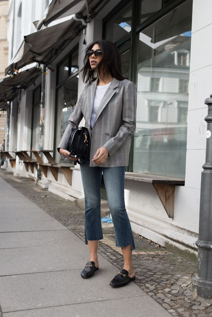 storm wears roseanna blazer with mother denim jeans and gucci princetown slipper found at april. Black Bedroom Furniture Sets. Home Design Ideas