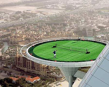 ...play tennis on a 700-foot-high Tennis Court in Dubai! That would be insane.