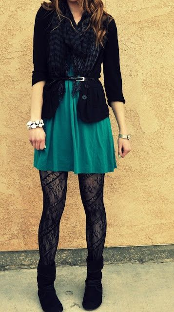 Very Cute Dark Green Dress With The Black Tights Black Quarter