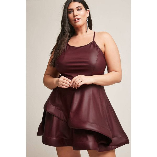 9b6e70e9df6 Forever21 Plus Size ETA Faux Leather Dress ( 38) ❤ liked on Polyvore  featuring plus size women s fashion