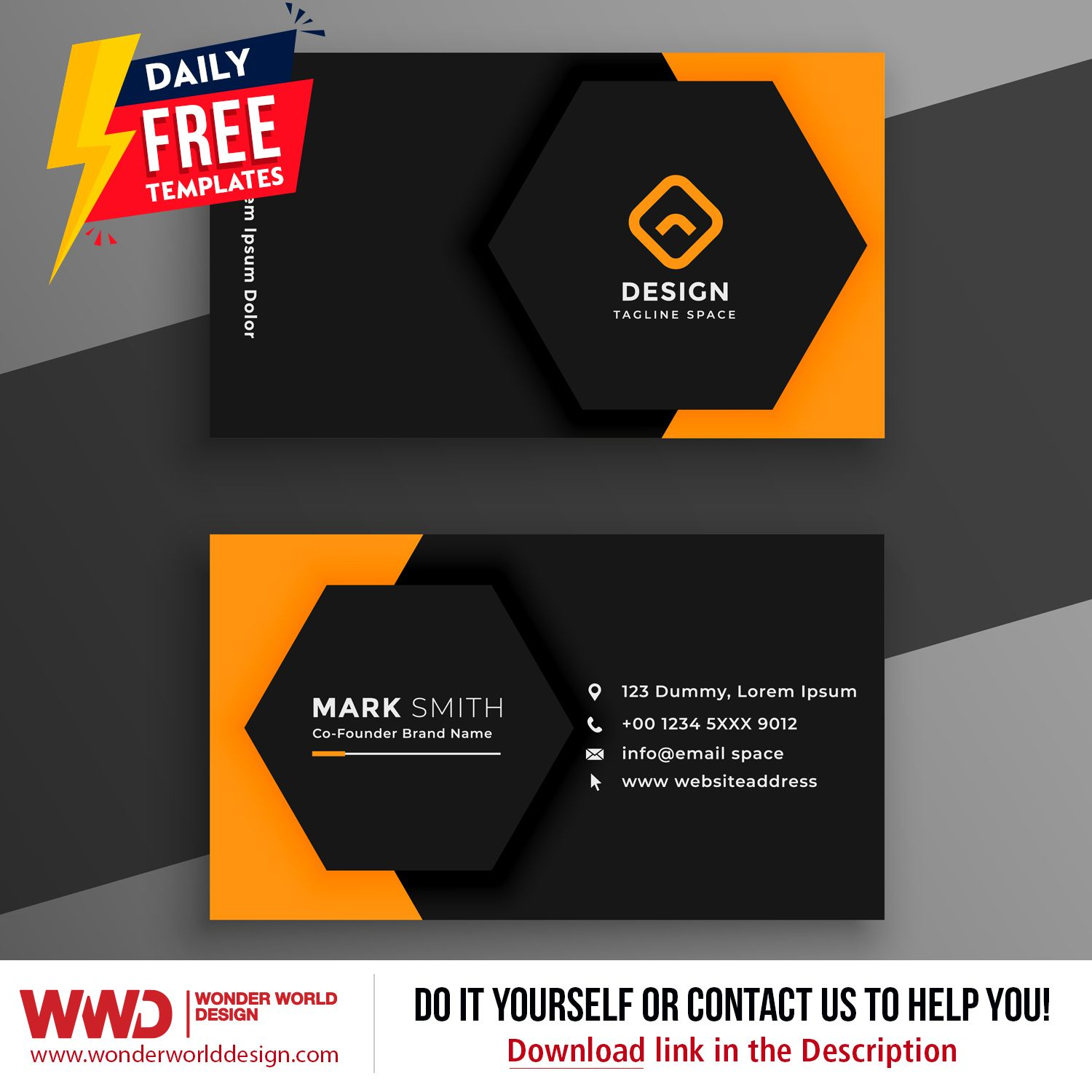 Daily Free Templates For You Black Yellow Business Card Template Compatible With Adobe Illustrator File Yellow Business Card Business Card Template Templates