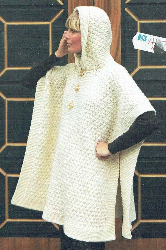 Ladies double double hooded poncho knitting pattern by EnglishAran ...