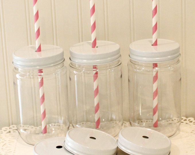 62c74c111845 Plastic Mason Jars, 10 Plastic Mason Jar Cups with lids, Metal Straw ...