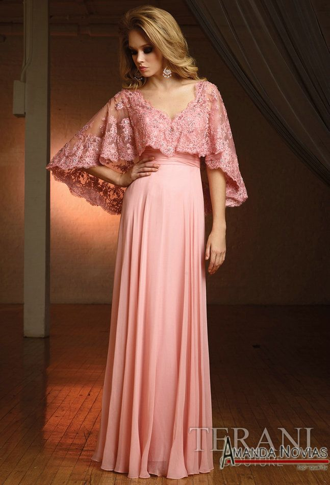 Elegant Pink Lace Vintage Floor Length Mother of the Bride Lace ...