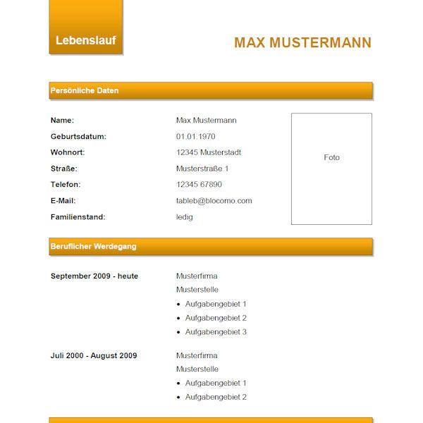 Modern CV, Orange - Moderne Lebenslauf-Vorlage, Orange | Lebenslauf ...