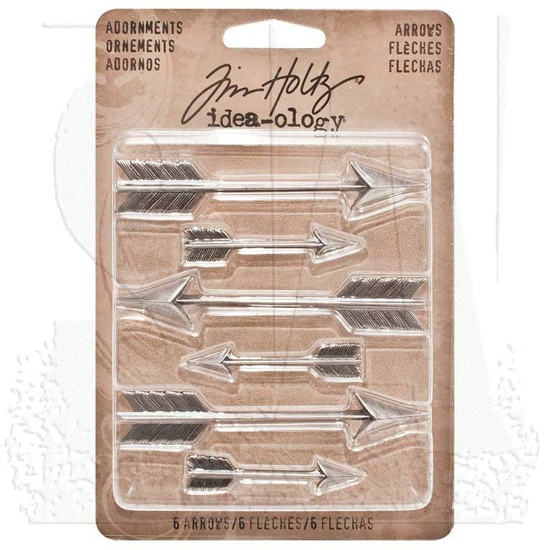 Tim Holtz Idea-ology Arrows Adornments 6-Charms Per Pack Various Sizes TH93127 Antique Nickel Finish