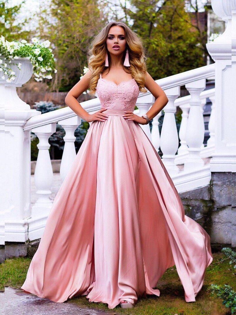 Gorgeous spaghetti straps pink prom dresses lace satin split sexy