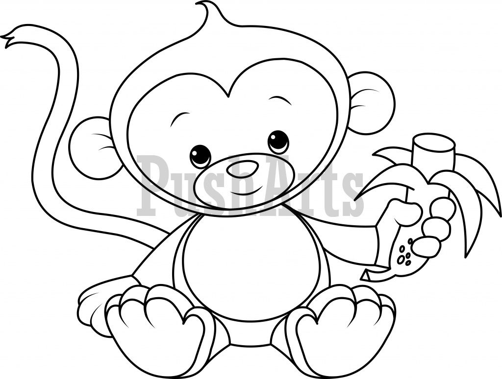 Baby Monkey eating banana coloring page PushArts Royalty free