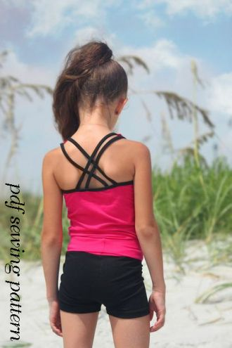 Gymnastics and dance crop singlet and yoga shorts set ...