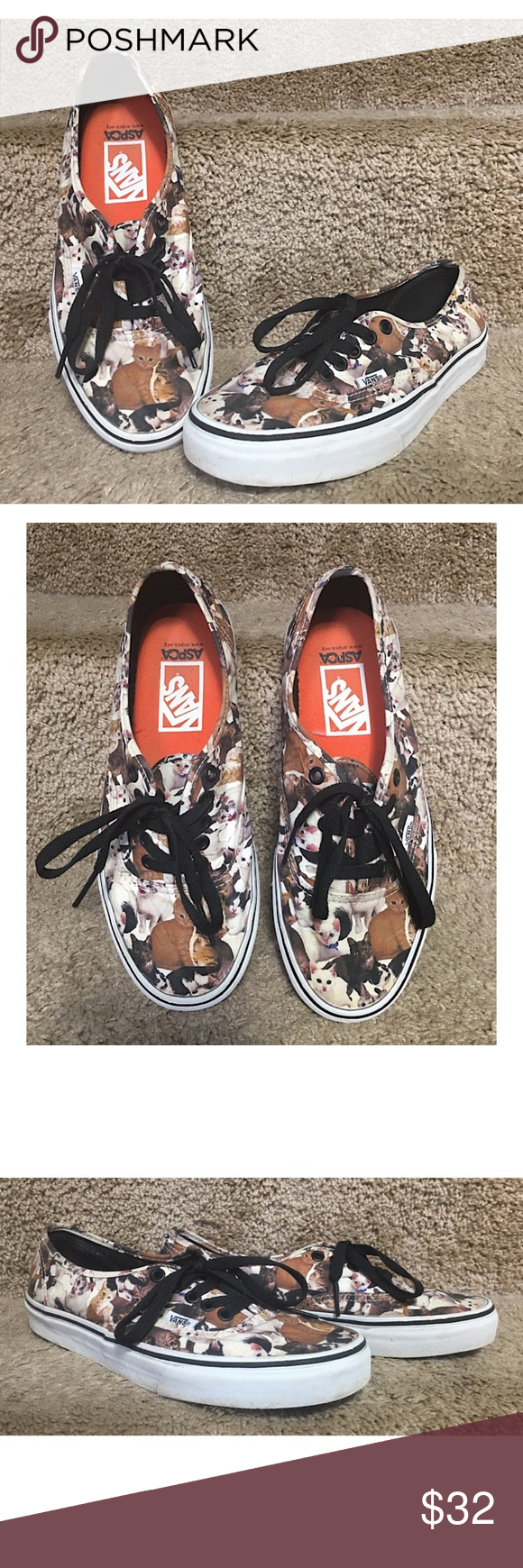 Vans Aspca Authentic Cat Print Kitty Unisex Vans Aspca Authentic Cat Print Kitty Men S Sz 8 Women S Sz 9 5 Kittens Pre Owned In Gr Shoes Vans Loafer Flats