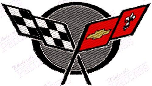2 BLACK RED CHEVY CORVETTE STINGRAY SEW//IRON ON PATCH EMBLEM BADGE EMBROIDERED