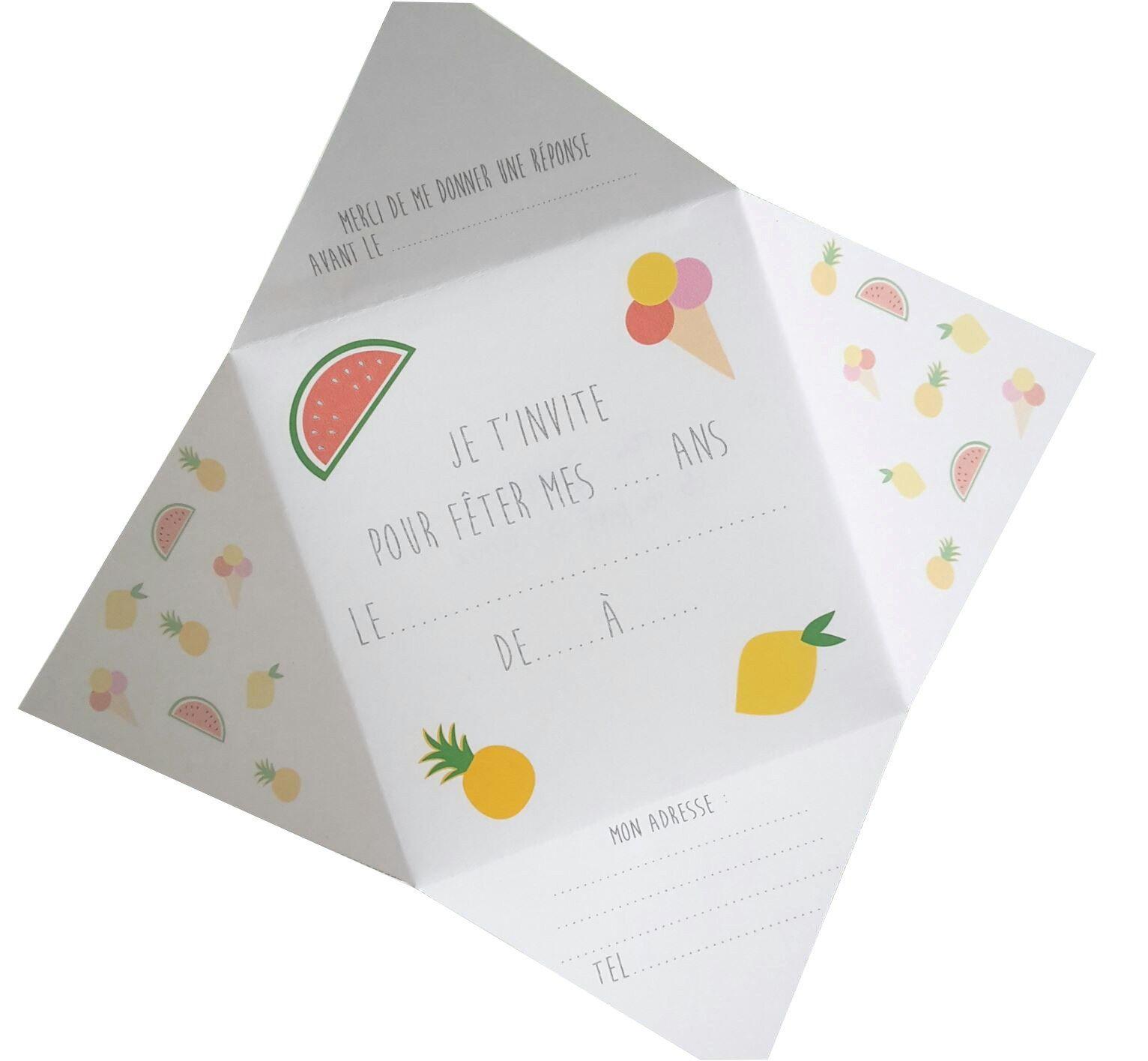 "DIY Carte d'anniversaire ""SUMMER""   Carte invitation anniversaire fille, Carte invitation ..."