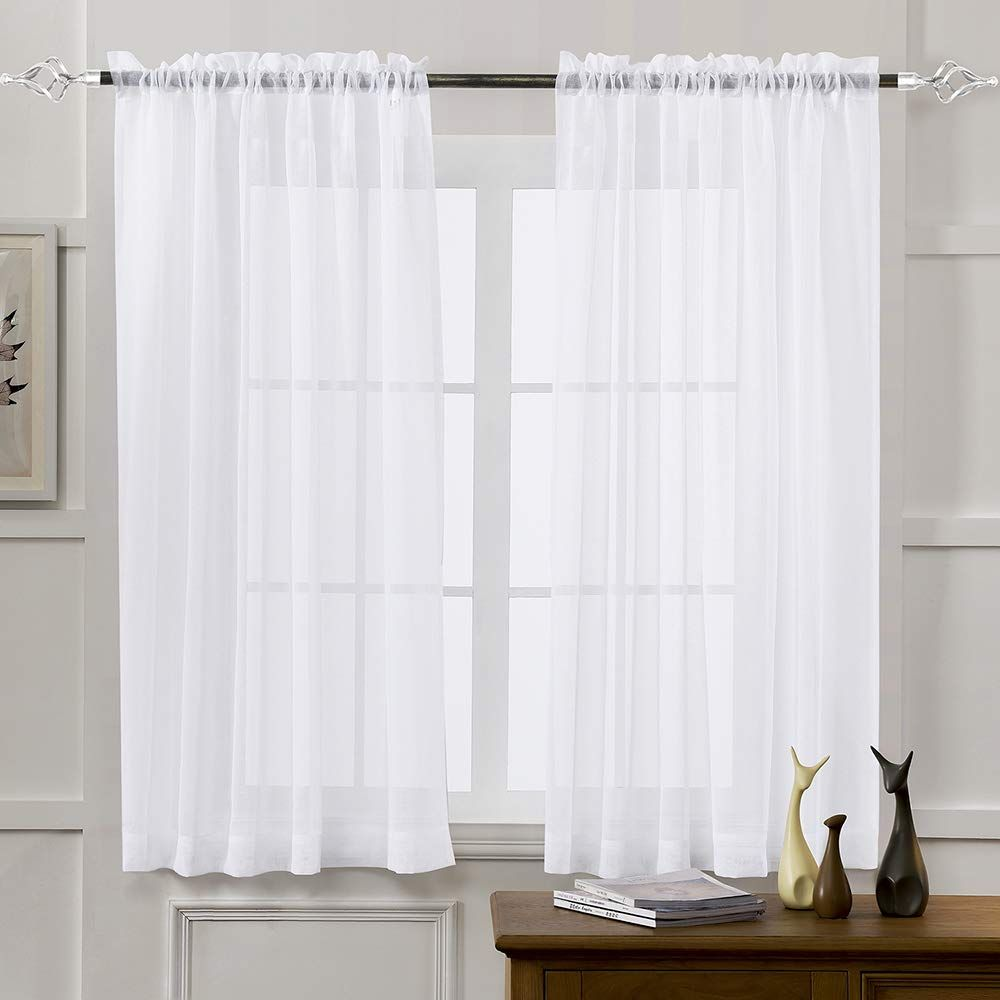 White 52 Quot W X 63 Quot L Window Sheer Curtain Panels For Living