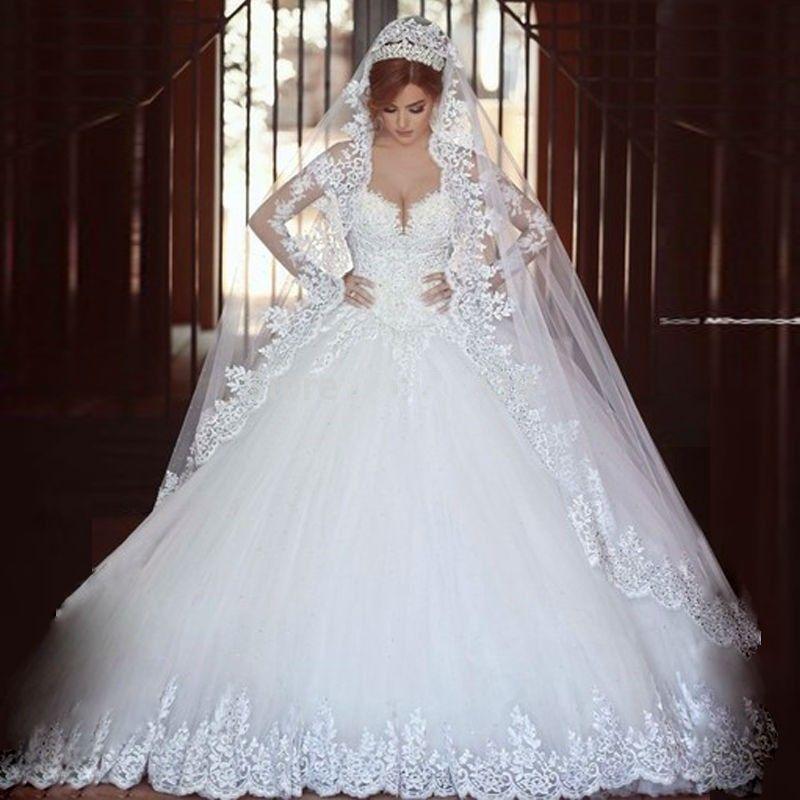 Luxury Vintage Long Sleeves Lace Wedding Dress   Wedding Dresses ...