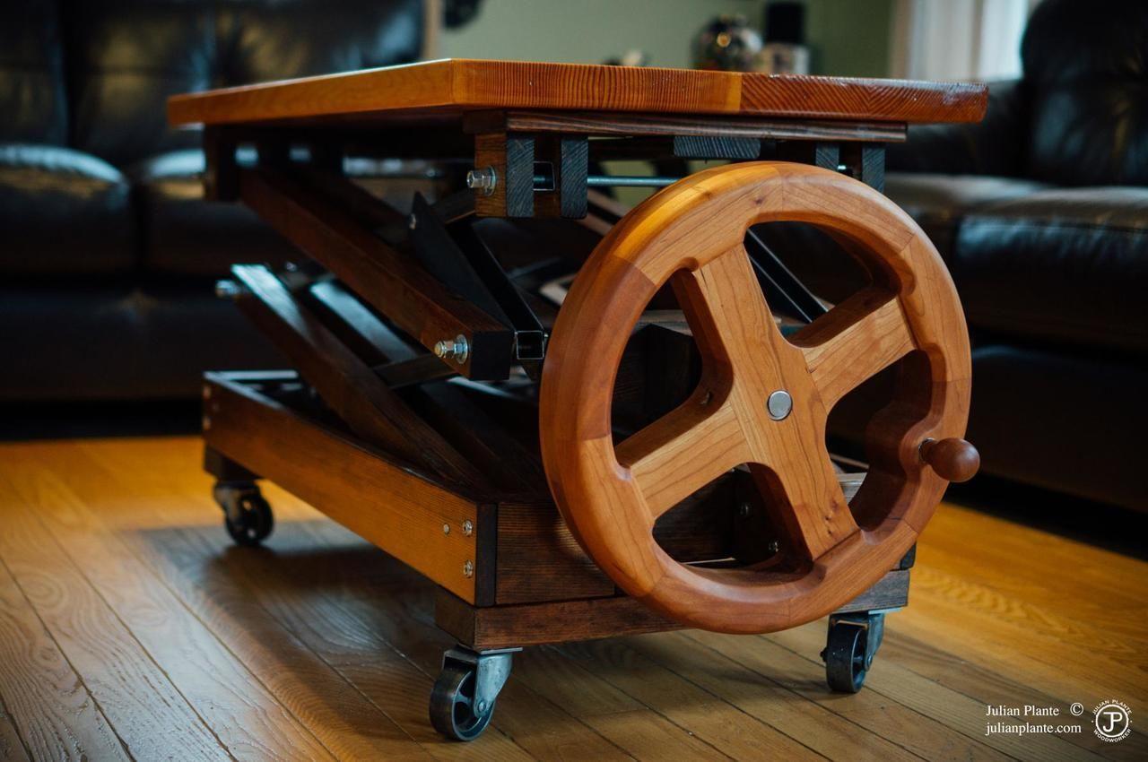 Handwheel adjustable height coffee table since i couldnt