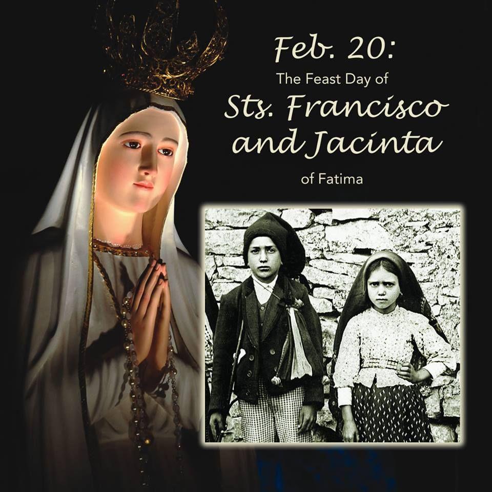 Feast Day St.s Jacinta and Francesco Marto,Fatima | Lady of fatima,  Catholic saints, Fatima