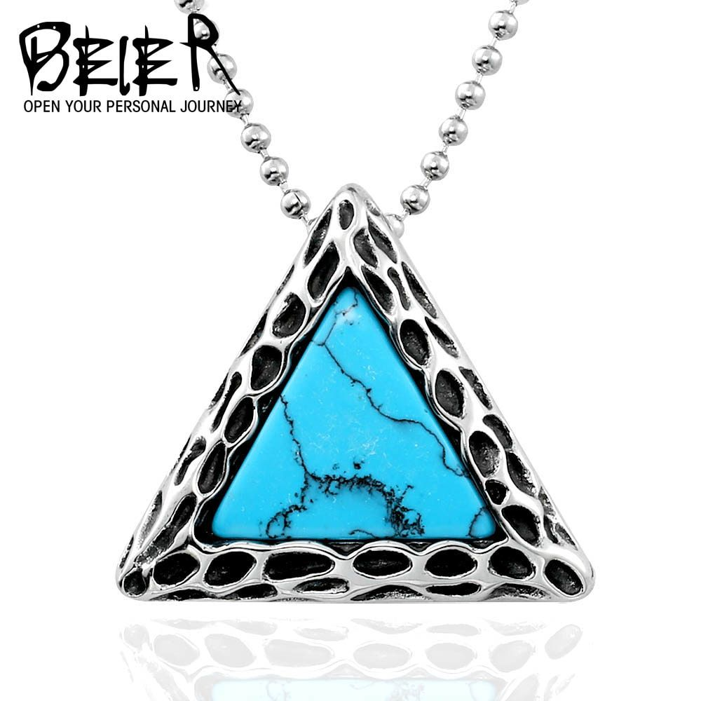 Photo of 316L Stainless Steel Fashion Unisex Pendant Necklace Triangle Style With Green Stone jewelry for man gift BP8-195