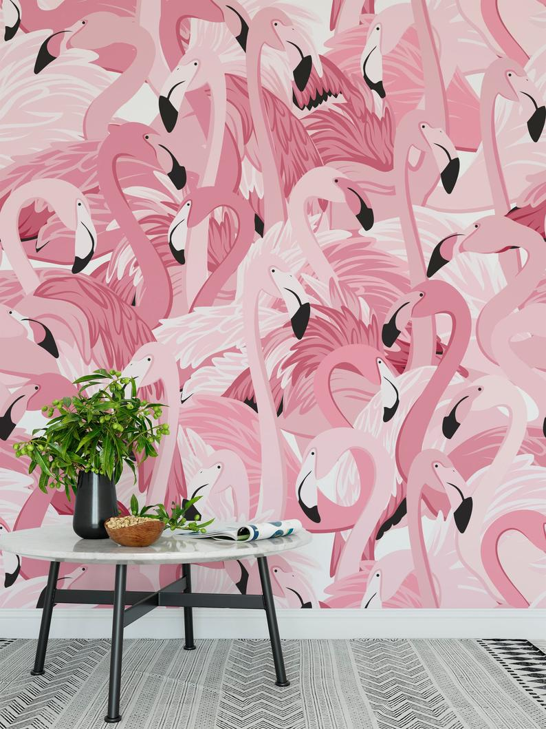 Removable Wallpaper Peel And Stick Wallpaper Pink Flamingo Etsy Peel And Stick Wallpaper Removable Wallpaper Wallpaper