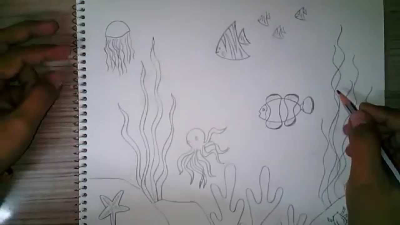 How to draw an underwater scene for kids | Oceanography ...