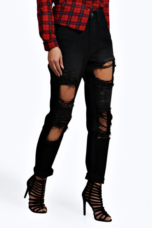 pretty cool top fashion latest Mid Rise Black Wash Distressed Boyfriend Jeans | Boohoo in ...