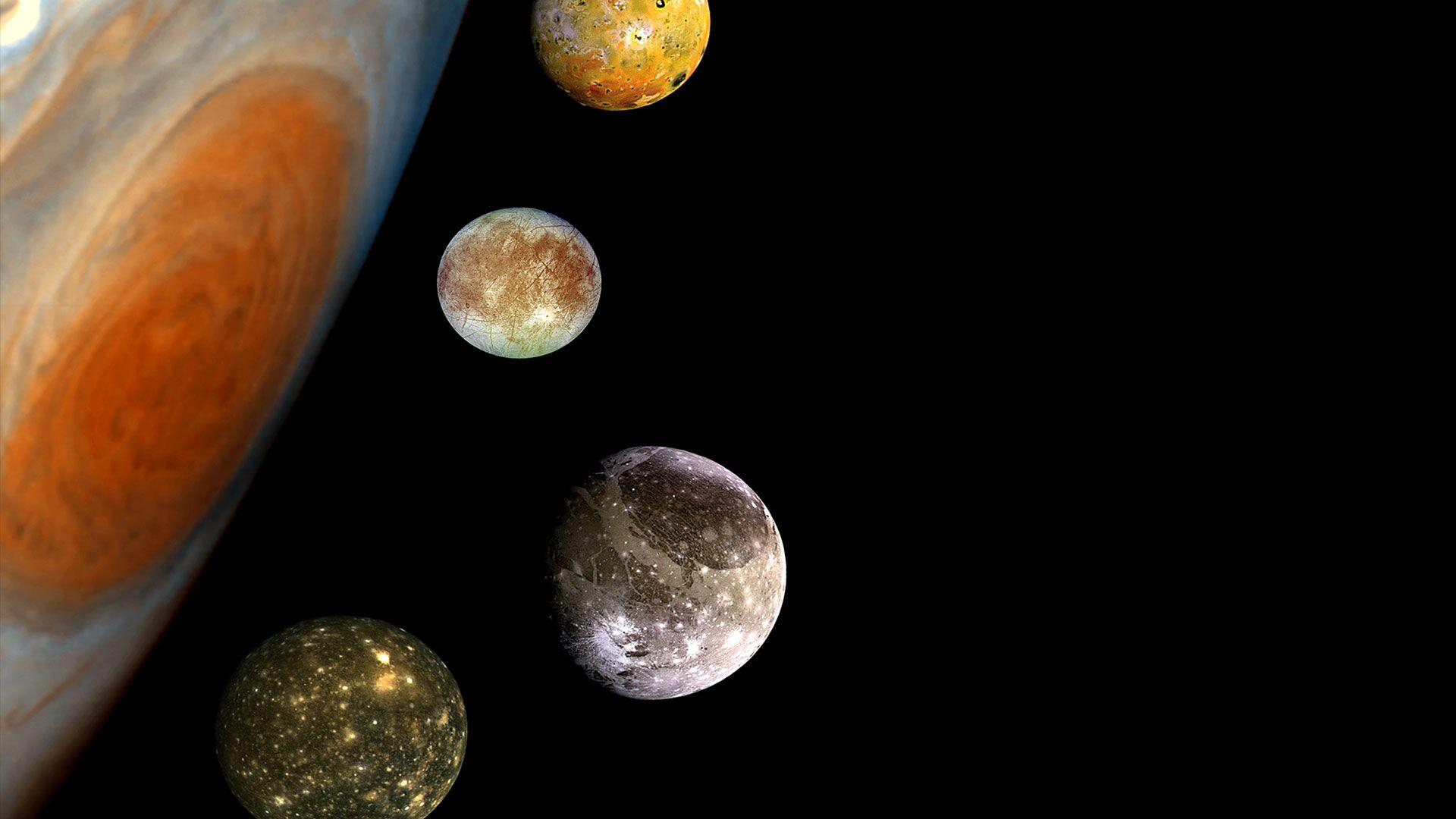 Jupiter ja Jupiterin neljä suurinta kuuta. Kuva: Yle kuvapalvelu/Robesus Inc.