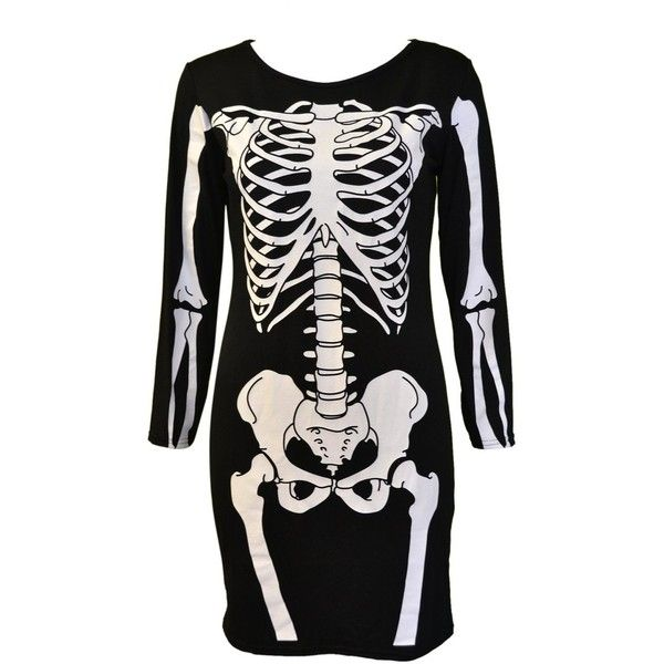 Mymixtrendz Womens Halloween Long Sleeve Bodycon Skeleton Tunic Dress (26 CAD) ❤ liked on Polyvore featuring dresses, black bodycon dress, longsleeve dress, black body con dress, skeleton dress and bodycon dress