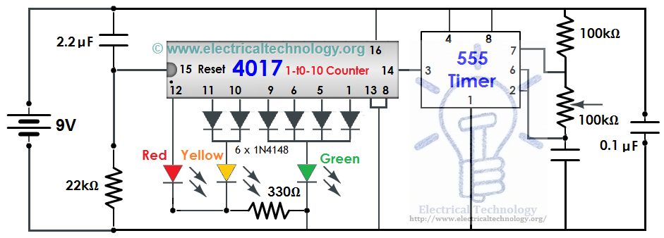 traffic light control electronic project using ic 4017 counter & 555 timer