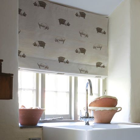 Emily Bond Pig Print Blind   If Only It Was A Wallpaper