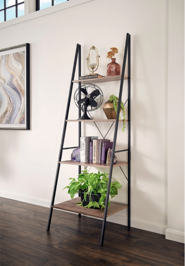 Wood Ladder Shelf Bookcase