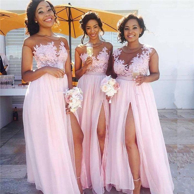 Elegante Brautjungfernkleider Altrosa Lang Chiffon Kleider Klein