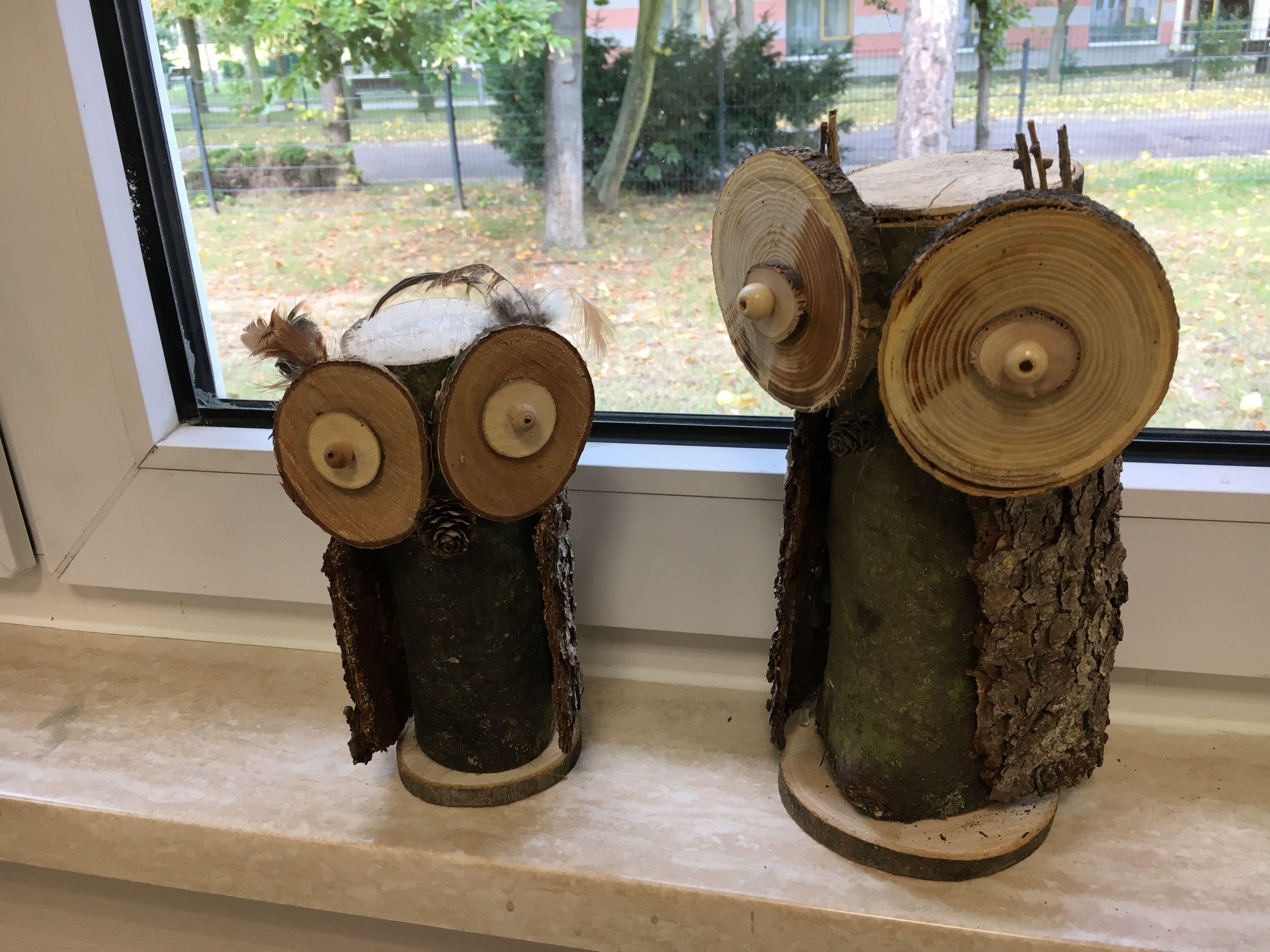 Eulen Aus Holz Und Rinde Rinde Eule Eulen Aus Holz Kreatives Gestalten Eule