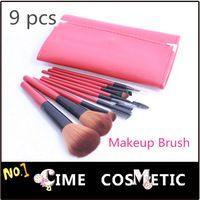 Nueva Belleza Maquillaje Herramientas de 9 PC Kit de Red Cepillos cosmético del maquillaje de cepillo de viaje con el caso Freeshiping