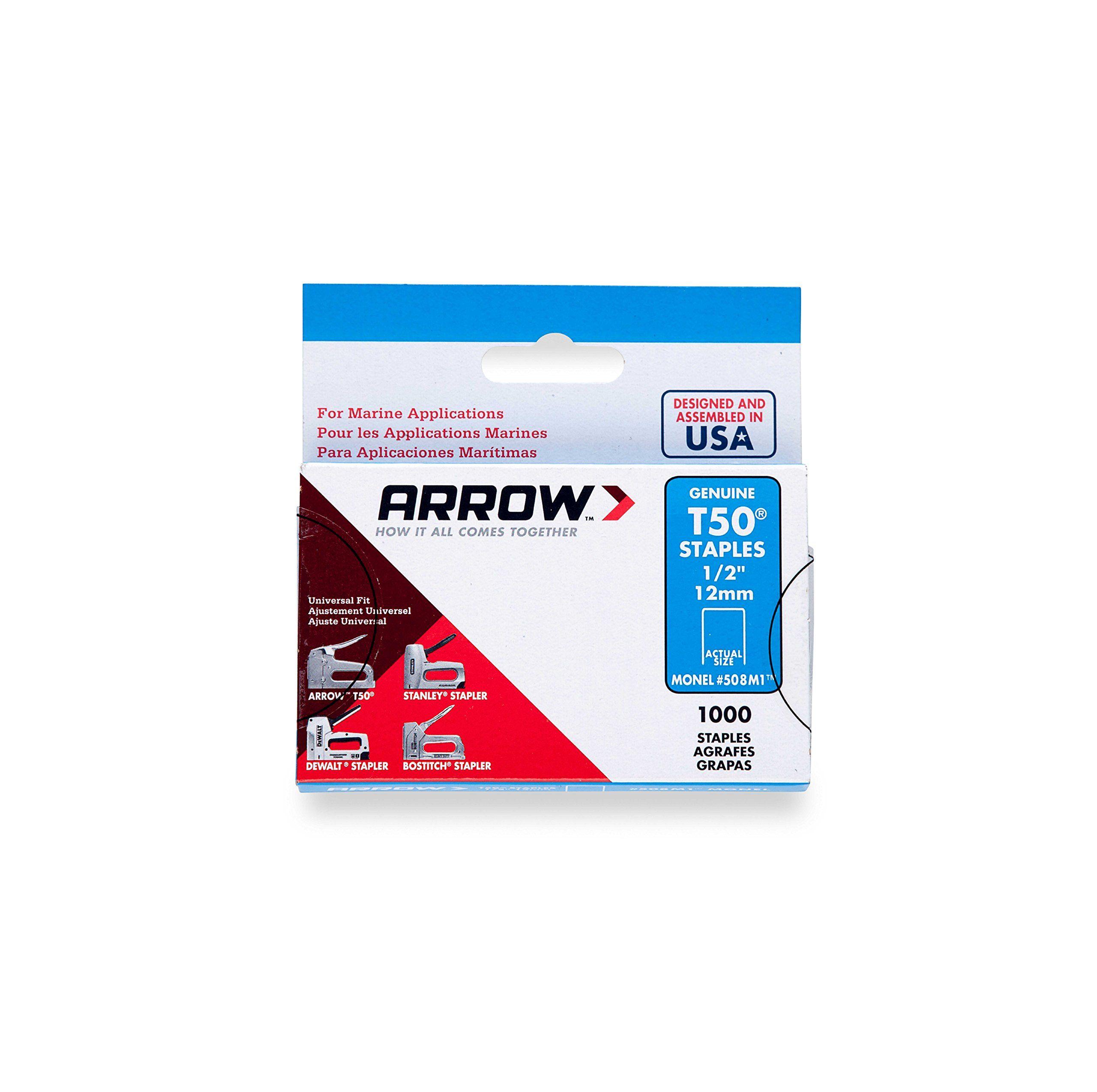 Arrow Fastener 508M1 Genuine T50 Monel Rustproof 1/2 Inch