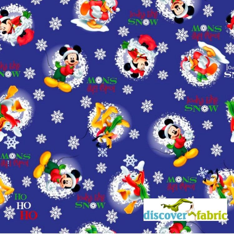 Disney Christmas Fabric By The Yard.Mickey Mouse And Friends Looks Like Snow Christmas Fabric
