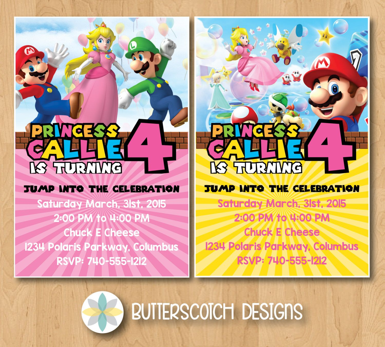 Super Mario Princess Peach Birthday Invitation, Pick from 2 Designs ...